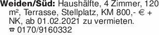 Weiden/Süd: Haushälfte, 4 Zimm...