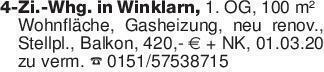 4-Zi.-Whg. in Winklarn, 1. OG,...