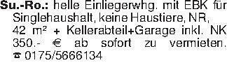 Su.-Ro.: helle Einliegerwhg. m...