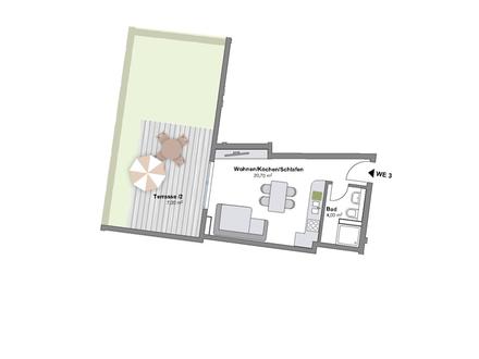 Neubau eines 31 m² Appartements mit Gartenanteil