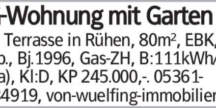 EG-Wohnung mit Garten und Terrasse in Rühen, 80m², EBK, Carp., Bj.1996,...
