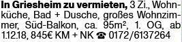 3-Zimmer Mietwohnung in Griesheim (64347)