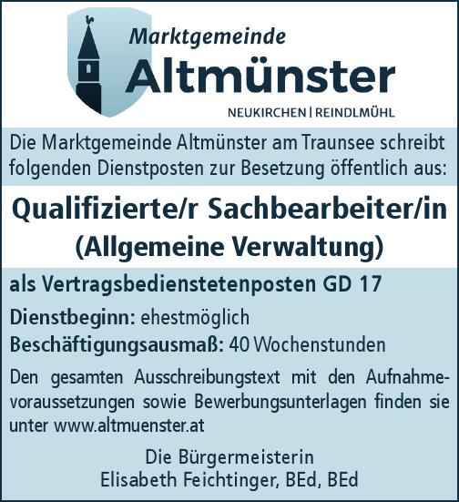 Die Marktgemeinde Altmünster am Traunsee schreibt folgenden Dienstposten zur Besetzung öffentlich aus: Qualifizierte/r Sachbearbeiter/in (Allgemeine Verwaltung)