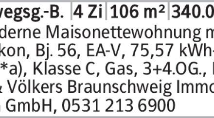Moderne Maisonettewohnung mit Balkon, Bj. 56, EA-V, 75,57 kWh- (m²*a),...