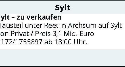Sylt – zu verkaufen Hausteil