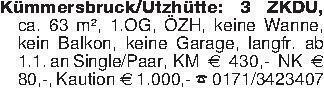 Kümmersbruck/Utzhütte: 3 ZKDU,...