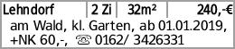 Lehndorf 2 Zi 32m² 240,-€ am Wald, kl. Garten, ab 01.01.2019, +NK 60,-,...