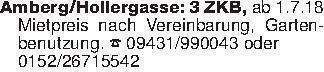Amberg/Hollergasse: 3 ZKB, ab...
