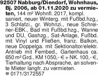 92507 Nabburg/Diendorf, Wohnha...