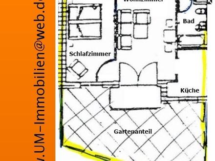 Schöne 2 Zi. Terrassenwohnung, mit ca. 30 qm großem Garten, zus. TG-Stellplatz