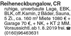 Reiheneckbungalow, CRruhige, unverbaute Lage, EBK, BLK, off. Kamin, 2 Bäder,...