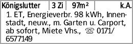Königslutter 3 Zi 97m² k.A. 1. ET, Energieverbr. 98 kWh, Innenstadt, neuw.,...