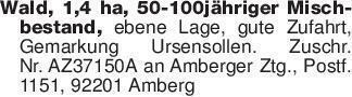 Wald, 1,4 ha, 50-100jähriger M...