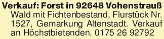 Verkauf: Forst in 92648 Vohens...