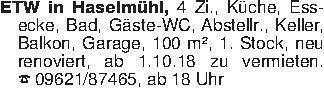 ETW in Haselmühl, 4 Zi., Küche...