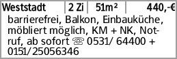 Weststadt 2 Zi 51m² 440,-€ barrierefrei, Balkon, Einbauküche, möbliert...
