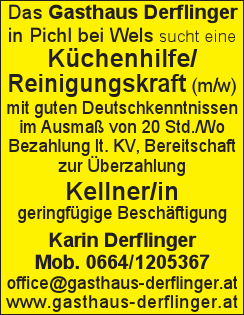 Das Gasthaus Derflinger in Pichl bei Wels sucht eine Küchenhilfe/ Reinigungskraft (m/w) mit guten Deutschkenntnissen im Ausmaß von 20 Std./Wo Bezahlung lt. KV, Bereitschaft zur Überzahlung Kellner/in