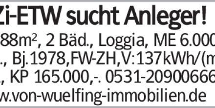 3-Zi-ETW sucht Anleger! BS: 88m², 2 Bäd., Loggia, ME 6.000,-/p.a., Bj.1978,FW-ZH,V:137kWh/(m²a),...