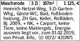 Mascherode 3 Zi 107m² 1.125,-€ Heinrich-Netzel-Weg, 3-Zi-Garten-Whg., Gäste-WC,...