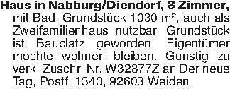 Haus in Nabburg/Diendorf, 8 Zi...
