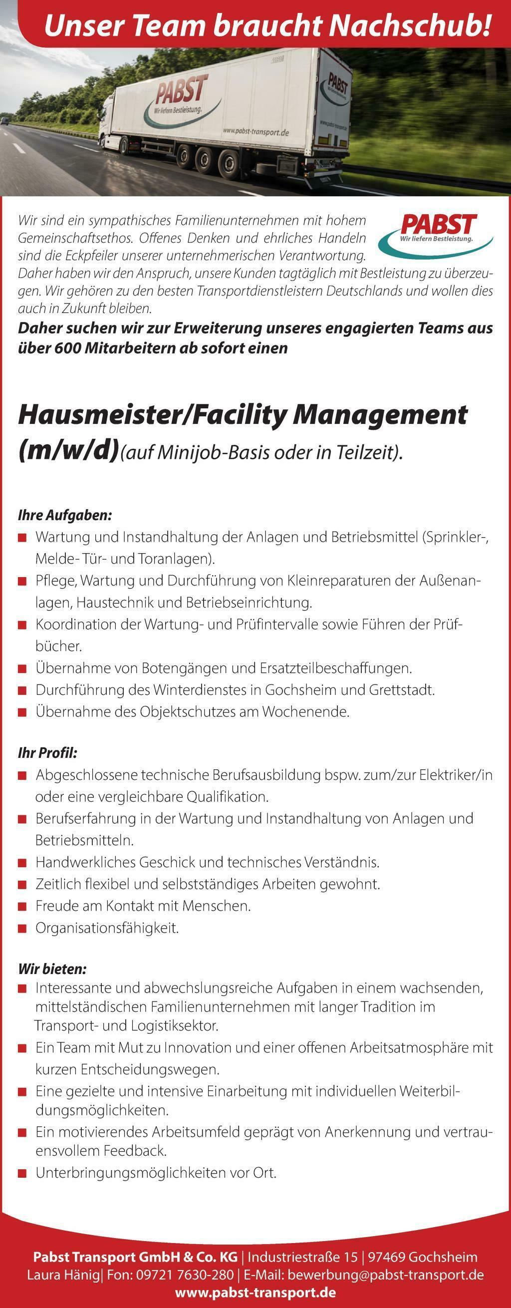 Hausmeister/Facility Management (m/w/d)