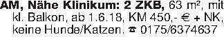AM, Nähe Klinikum: 2 ZKB, 63 m...