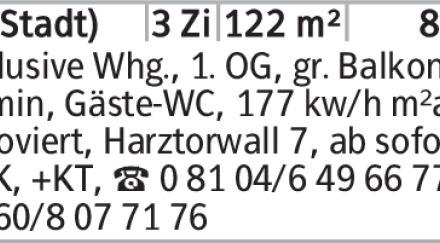 Anzeigentitel Exclusive Whg., 1. OG, gr. Balkon, Kamin, Gäste-WC, 177 kw/h...