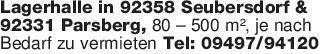 Lagerhalle in 92358 Seubersdor...