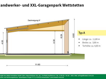 Halle Typ A (ca. 45 m²) in neuem Handwerker- und XXL-Garagenpark