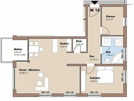 Grundriss 1. Obergeschoss Wohnung 12 / Haus 1