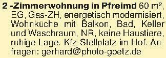 2 -Zimmerwohnung in Pfreimd 60...