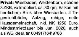 3-Zimmer Mietwohnung in Wiesbaden (65189)