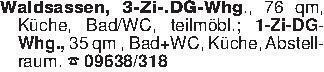 Waldsassen, 3-Zi-.DG-Whg., 76...