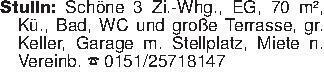 Stulln: Schöne 3 Zi.-Whg., EG...