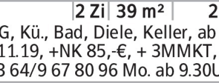 Anzeigentitel 2.OG, Kü., Bad, Diele, Keller, ab 01.11.19, +NK 85,-€, +...