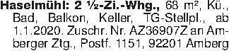 Haselmühl: 2 ½-Zi.-Whg., 68 m²...
