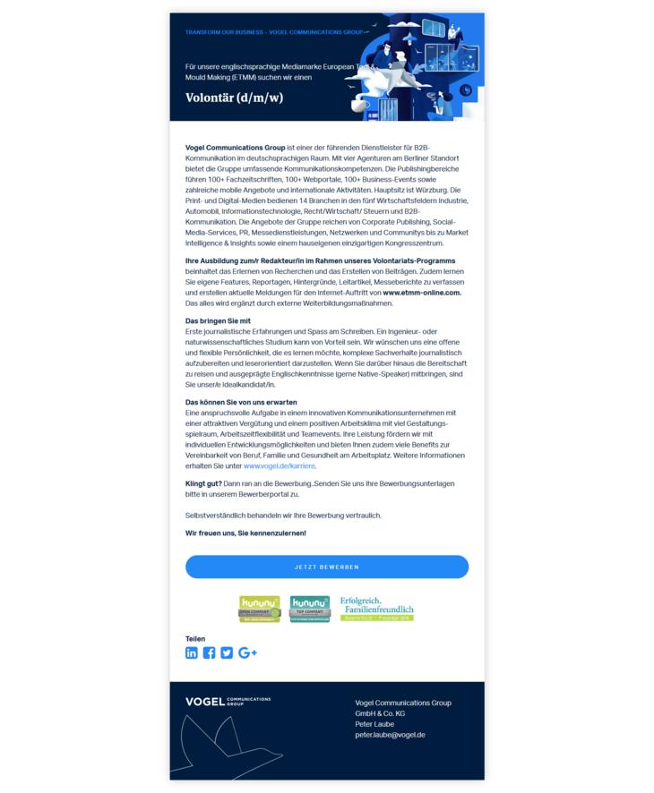 Vogel Communications Group ist einer der führenden Dienstleister für B2B-Kommunikation im deutschsprachigen Raum.