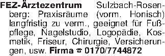 FEZ-Ärztezentrum Sulzbach-Rose...