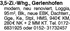 3,5 Zi. Whg., Gerlenhofen