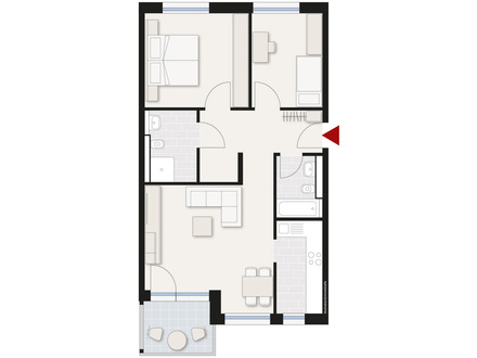 Schöne, hochwertige 3-Zimmer-Wohnung mit Terrasse in Neu-Ulm