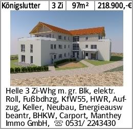 Königslutter 3 Zi 97m² 218.900,-€ Helle 3 Zi-Whg m. gr. Blk, elektr. Roll,...