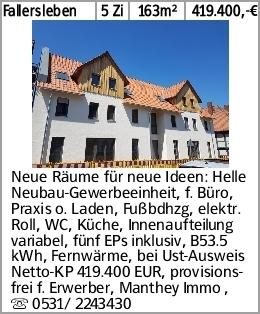 Fallersleben 5 Zi 163m² 419.400,-€ Neue Räume für neue Ideen: Helle Neubau-Gewerbeeinheit,...
