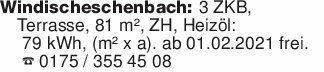 Windischeschenbach: 3 ZKB, Ter...