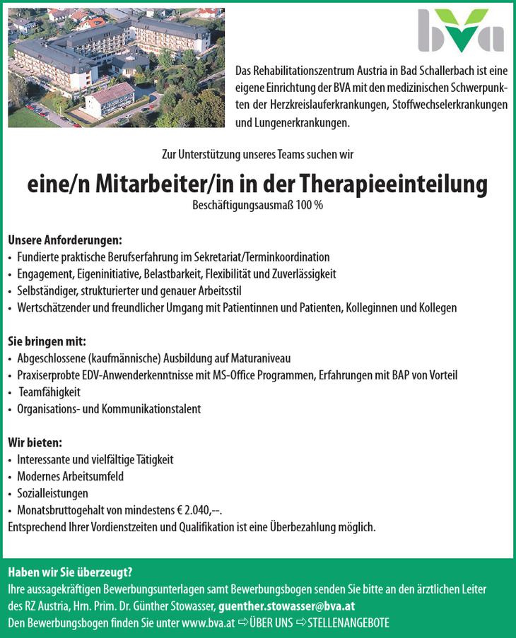 Das Rehabilitationszentrum Austria in Bad Schallerbach ist eine eigene Einrichtung der BVA mit den medizinischen Schwerpunkten der Herzkreislauferkrankungen, Stoffwechselerkrankungen und Lungenerkrank