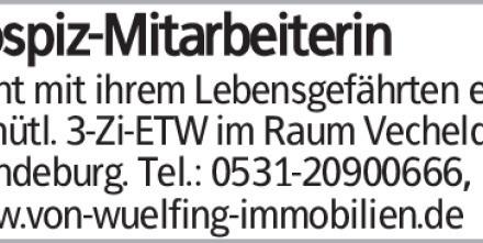 sucht mit ihrem Lebensgefährten eine gemütl. 3-Zi-ETW im Raum Vechelde/Wendeburg....