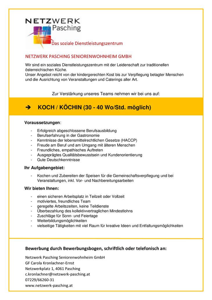 Köchin / Koch, Netzwerk Pasching Seniorenwohnheim GmbH - unser Angebot reicht von der kindergerechten Kost bis zur Verpflegung betagter Menschen und die Ausrichtung von Veranstaltungen aller Art.
