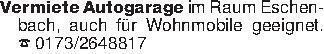 Vermiete Autogarage im Raum Es...