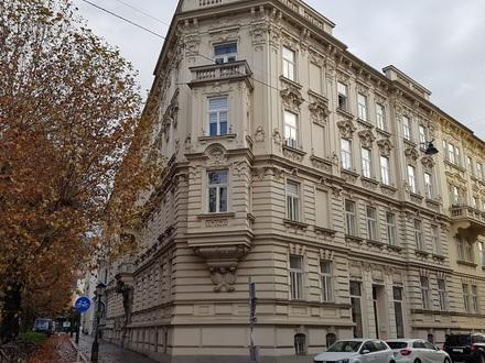 Sbg. Andräviertel, repräsentative Beletage Büroflächen in einem Gründerzeithaus mit Ceconifassade