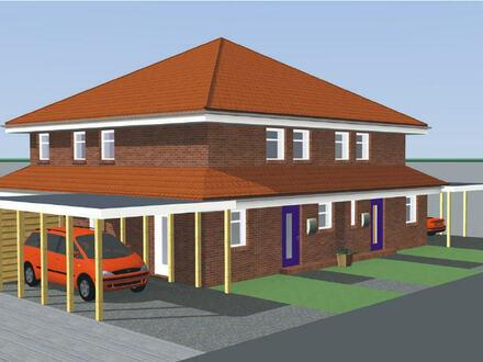 Neubau-Doppelhaushälfte (KfW 55) mit Carport