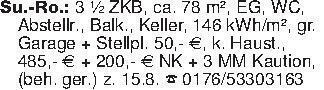 Su.-Ro.: 3 ½ ZKB, ca. 78 m², E...